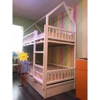 Двухъярусная кровать Астерикс и Обеликс домиком с ящиками
