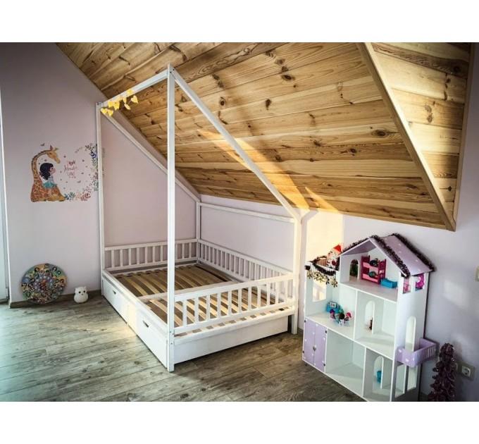 Белый домик кровать Губка Боб с ящиками
