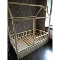 Белый домик кроватка Крепость Малыша с ящиками