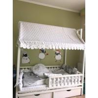 Белая кроватка-домик Умка с ящиками