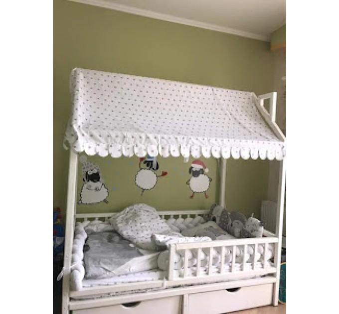 Біле ліжечко-будиночок Умка з ящиками