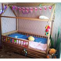 Белый домик кроватка Винни Пух с ящиками