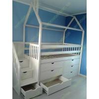 Детская кровать-домик  Трейсер с комодами