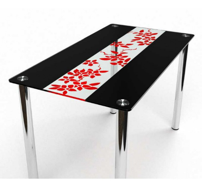 Обеденный стол Цветы рая красно-черный