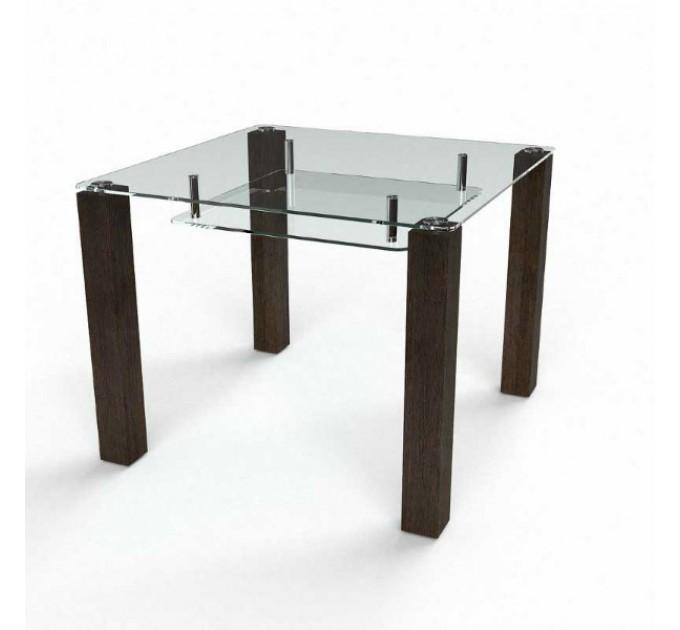 Обеденный стол Квадратный прозрачный с полкой