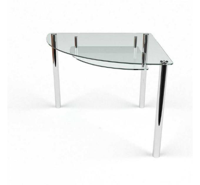 Обеденный угловой стол Сектор прозрачный с полкой