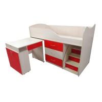 """Детская кровать """"Bed-room-5"""" со столом, комодом и лестницей, красная"""