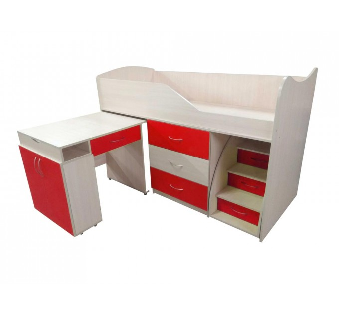 """Дитяче ліжко """"Bed-room-5"""" зі столом, комодом і сходами, червона"""