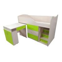 """Дитяче ліжко """"Bed-room-5"""" зі столом, комодом і сходами, лайм"""