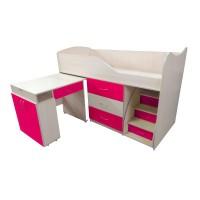 """Дитяче ліжко """"Bed-room-5"""" зі столом, комодом і сходами, малина"""