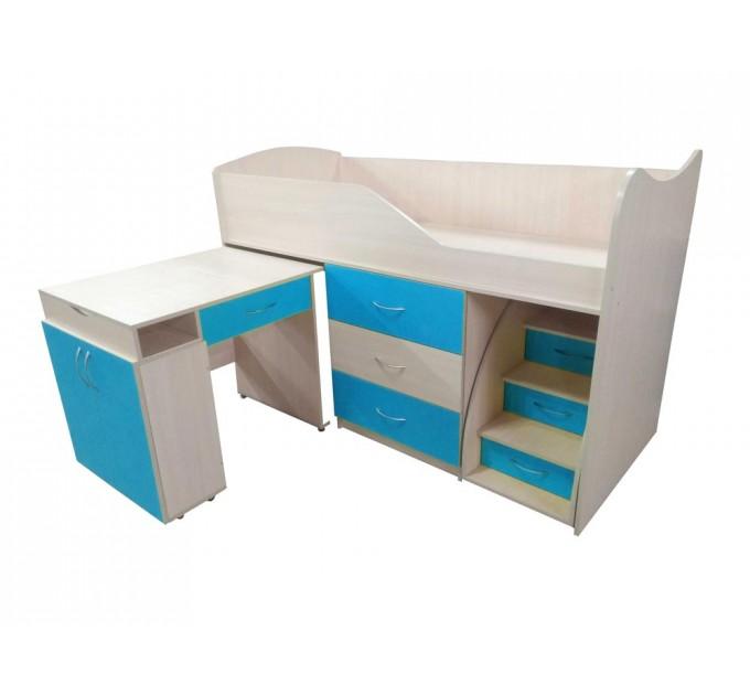 """Детская кровать """"Bed-room-5"""" со столом, комодом и лестницей, морская волна"""