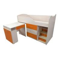 """Детская кровать """"Bed-room-5"""" со столом, комодом и лестницей, оранж"""