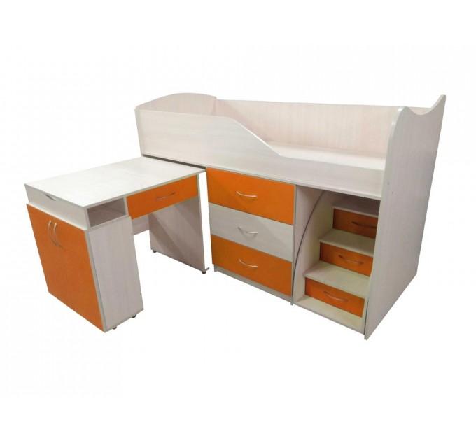 """Дитяче ліжко """"Bed-room-5"""" зі столом, комодом і сходами, оранж"""