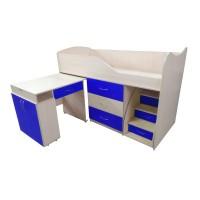 """Дитяче ліжко """"Bed-room-5"""" зі столом, комодом і сходами, синя"""