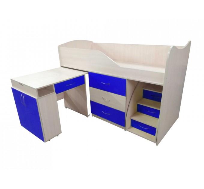 """Детская кровать """"Bed-room-5"""" со столом, комодом и лестницей, синяя"""