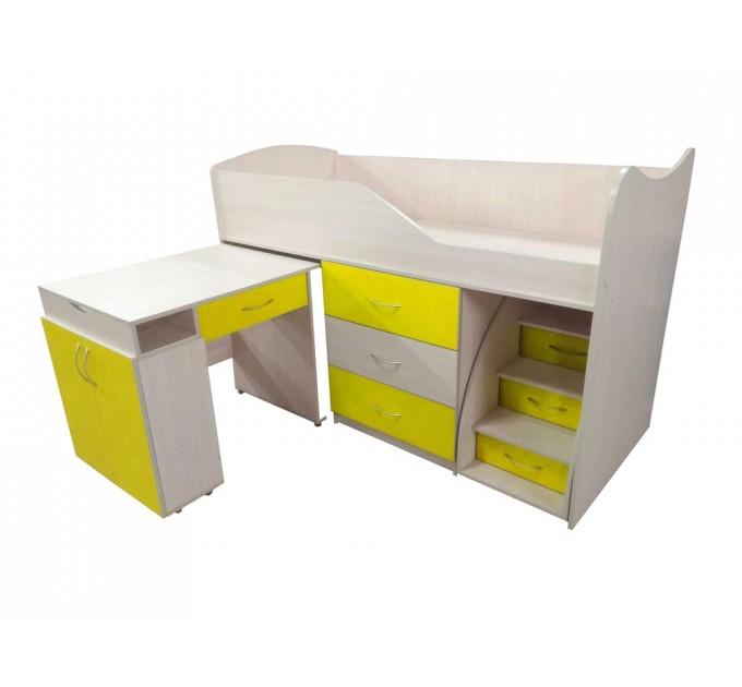 """Детская кровать """"Bed-room-5"""" со столом, комодом и лестницей, желтая"""
