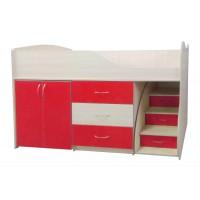 """Дитяче ліжко """"Bed-room-5"""" з шафою, комодом і сходами, червона"""