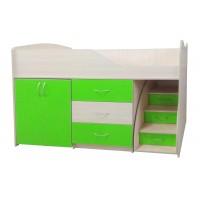"""Дитяче ліжко """"Bed-room-5"""" з шафою, комодом і сходами, лайм"""