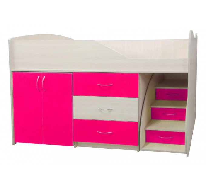 """Детская кровать """"Bed-room-5"""" со шкафом, комодом и лестницей, малина"""