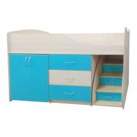 """Дитяче ліжко """"Bed-room-5"""" з шафою, комодом і сходами, морська хвиля"""