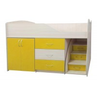 """Дитяче ліжко """"Bed-room-5"""" з шафою, комодом і сходами, оранж"""