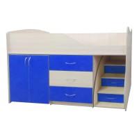 """Детская кровать """"Bed-room-5"""" со шкафом, комодом и лестницей, синяя"""