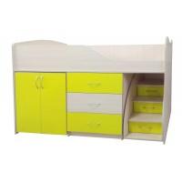 """Дитяче ліжко """"Bed-room-5"""" з шафою, комодом і сходами, жовта"""