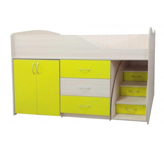 """Детская кровать """"Bed-room-5"""" со шкафом, комодом и лестницей, желтая"""