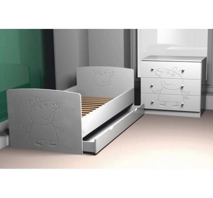 Кровать с ящиком Свинка Пеппа, МДФ
