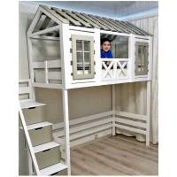 Кровать-чердак Котофей с комодом-лестницей