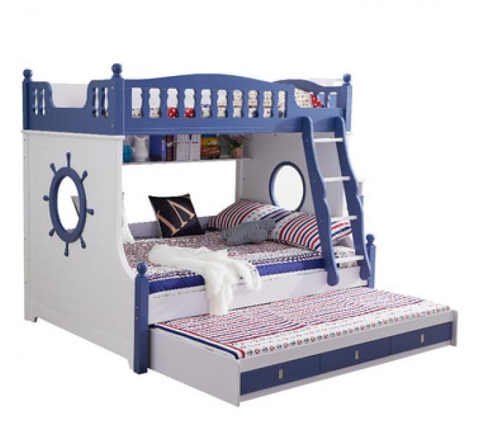 Двухъярусная кровать для троих детей Пиратский Корабль