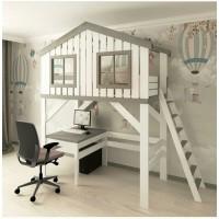 Домик кровать-чердак Школьник со столом