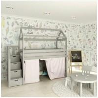 Домик кровать-чердак Стрекоза с лестницей- комодом