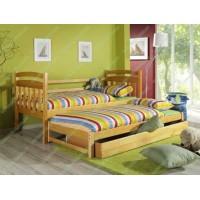 Односпальне ліжко Домінік з додатковим спальним місцем з дерева бук