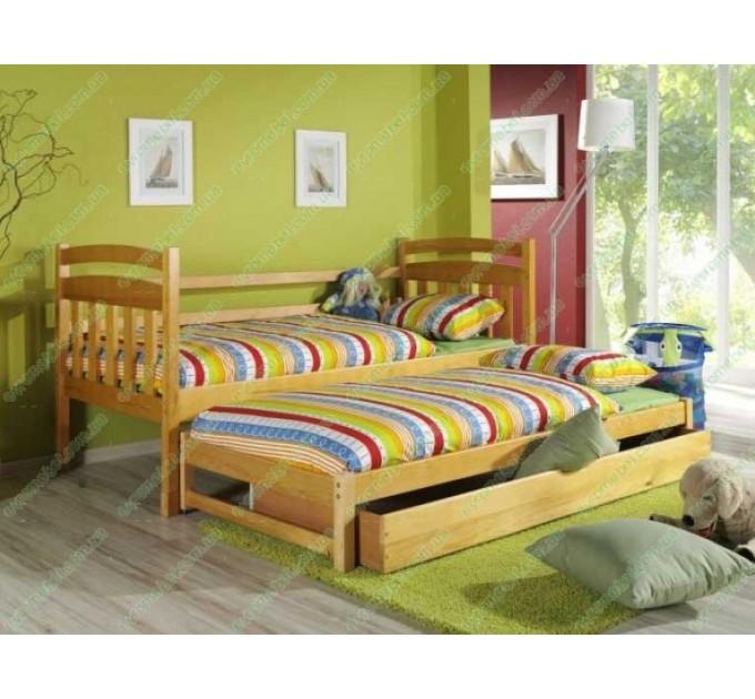 Односпальная кровать Доминик с дополнительным спальным местом из дерева бук