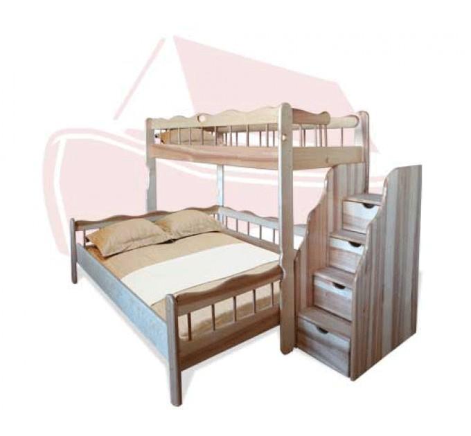 """Трехместная двухъярусная кровать """"Ковчег"""" ольха, ясень, дуб"""