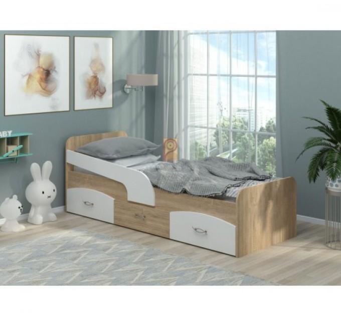 Підліткове ліжко з ящиками і бортиком Мілка ДСП