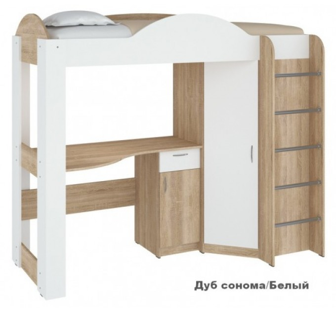 Ліжко горище з робочою зоною і шафою Орбіта