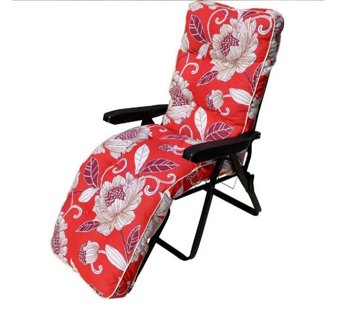 Шезлонг Melissa cotton красный в бежевые цветы