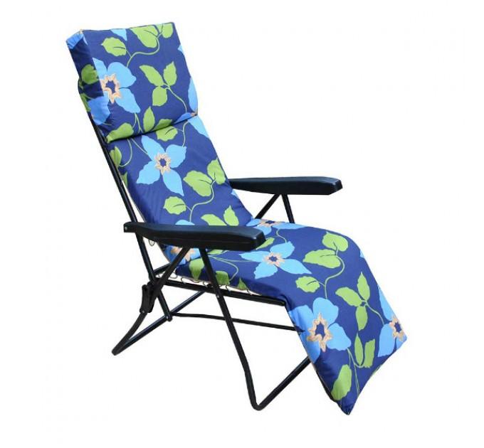 Шезлонг Strip синий с голубыми цветами